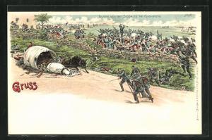 Lithographie Szene aus der Schlacht bei Gravelotte, Reichseinigungskriege