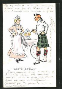AK Scotch & Polly, Dienstmädchen und Schotte im Kilt
