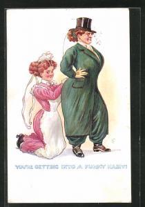 AK Vierschrötige Dame lässt sich vom Dienstmädchen beim Ankleiden helfen