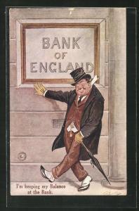 Künstler-AK Betrunkener vor der Bank von England