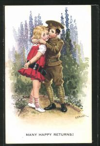Künstler-AK Kleiner britischer Soldat beim Abschied von der Liebsten