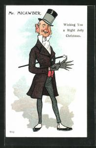 Künstler-AK Charles Dickens, Character, Mr. Micawber