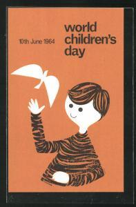 Künstler-AK Kinderfürsorge World Children's Day 1964, Knabe mit weisser Taube