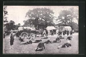 AK Kinder Kriegspropaganda, Kinder-Kadetten im Lager auf einer Wiese liegend
