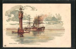 Lithographie Leuchtturm am Suez-Canal und passierendes Schiff