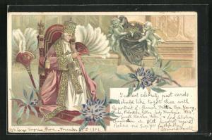 AK Papst Leo XIII. auf Stuhl sitzend und Blumen