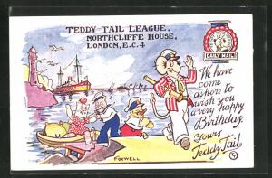 AK Comicfigur Teddy Tail mit Fernrohr im Hafen, Happy Birthday Greetings