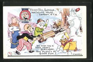AK Comicfigur Teddy Tail schiesst mit einer Schneeball-Kanone, Happy Birthday Greetings