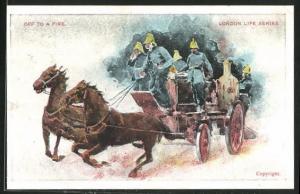AK London, Feuerwehr mit Pferdewagen auf dem Weg zum Einsatz