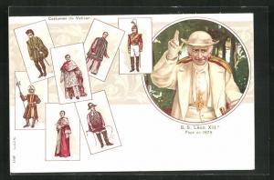 AK Papst Leo XIII., Portrait, Costumes du Vatican