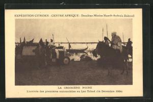 AK Lac Tchad, L`arrivée des premières automobiles au Lac Tchad, 1924, Missionare mit dem Auto in Afrika