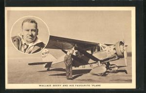 AK Wallace Beery and his favourite Plane, Pilot vor seinem Flugzeug