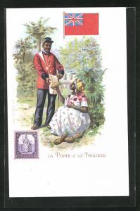 AK Trinidad, Briefträger im Gespräch mit einer Einheimischen, Briefmarke und Flagge