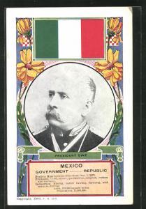 AK Mexico, President Diaz, Portrait, Nationalflagge und Blumenornamentik