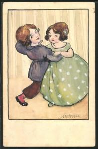 Künstler-AK Handgemalt: Junge tanzt mit Mädchen im grünen Kleid, Kinder