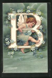 Präge-AK Buchstabe B mit einem kleinen Engel, blaue Blumen
