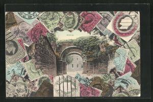 AK Bexham, Alter Torbogen, Britische Briefmarken