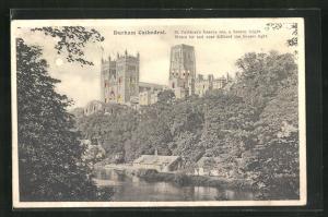 Mondschein-AK Durham, View of the Cathedral, Halt gegen das Licht: beleuchtete Fenster