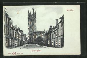Mondschein-AK Warwick, View of Church Street, Halt gegen das Licht: beleuchtete Fenster