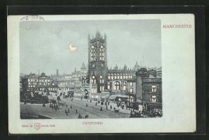 Mondschein-AK Manchester, View of the Cathedral, Halt gegen das Licht: beleuchtete Fenster