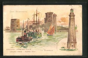 Lithographie La Rochelle, Hafeneinfahrt, Leuchtturm, Halt gegen das Licht: Reklame für Gaufrettes Lu
