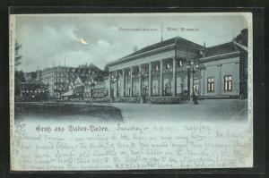 Mondschein-AK Baden-Baden, Hotel Messmer und Conversationshaus, Halt gegen das Licht: beleuchtete Fenster