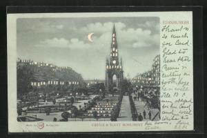 Mondschein-AK Edinburgh, Castle & Scott Monument, Halt gegen das Licht: beleuchtete Fenster