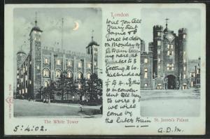 Mondschein-AK London, The White Tower, St. James Palace, Halt gegen das Licht