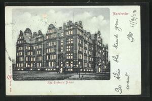 Mondschein-AK Manchester, New Technical School, Halt gegen das Licht