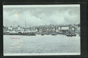 Mondschein-AK Folkestone, Hafen, Halt gegen das Licht