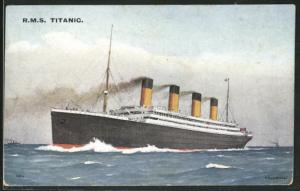 AK Passagierschiff R.M.S. Titanic in voller Fahrt auf hoher See