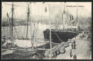 AK Barcelona, Puerto, Segelschiffe im Hafen