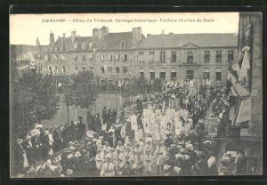 AK Guincamp, Fetes du Triduum, Cortege historique, Fanfare Charles de Blois