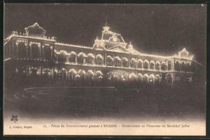 AK Saigon, Palais du Gouvernement general, Illumination en l'honneur du Marechal Joffre