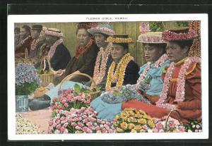 Künstler-AK Hawaii, Flower Girls