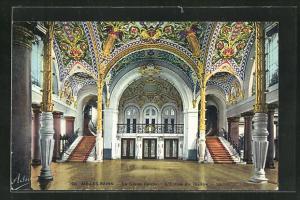 AK Aix-les-Bains, Le Grand Cercle, L`Entrée du Théatre
