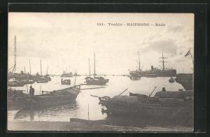 AK Haiphong, Rade, Boote und Schiffe im Hafen
