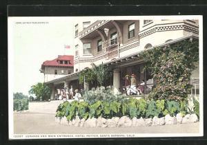 AK Santa Barbara, CA, Hotel Potter, Veranda and Main Entrance