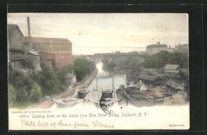 AK Lockport, NY, Looking down on the Locks from Pine Street Bridge