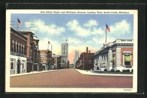 AK Battle Creek, MI, Post Office and Michigan Avenue, Looking West