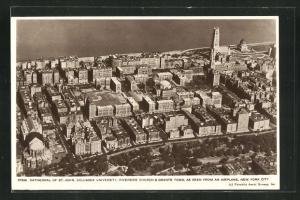AK New York, NY, Cathedral of St. John, Columbia University, Riverside Church & Grants Tomb, Fliegeraufnahme