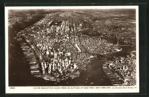 AK New York, NY, Entire Manhattan Island, Fliegeraufnahme