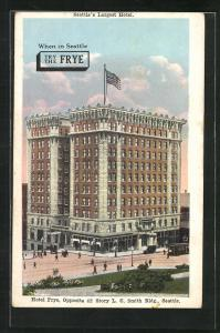 AK Seattle, WA, Hotel Frye, opposite 42 Story L. C. Smith Bldg.