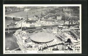 AK Ausstellung, South Bank Exhibition, Festival of Britain, 1951, Aerial View Festival Site
