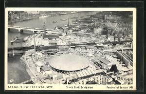 AK London, Festival of Britain 1951, South Bank Exhibition, Aerial view Festival Site, Ausstellung