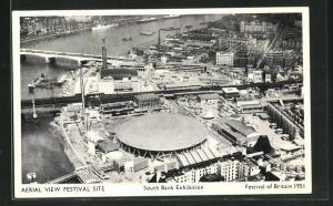AK London, Festival of Britain 1951, South Bank Exhibition, Ausstellung-Aerial view Festival Site