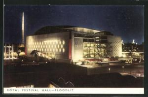 AK London, Festival of Britain 1951, Royal Festival Hall, Floodlit, Ausstellung