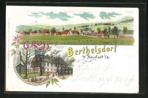 Lithographie Berthelsdorf i. S., Gasthaus zum Erbgericht, Totalansicht vom Ort
