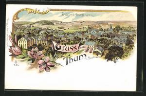Lithographie Thum i. Sa., Ausblick vom Georgenstein