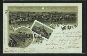 Mondschein-Lithographie Wilkau i. S., Badeanstalt, Kammgarnspinnerei Heinrich Dietel